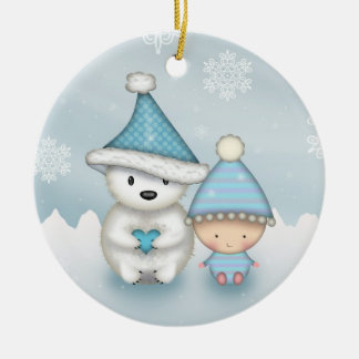 Cute Little Polar Bear and Baby Ceramic Ornament