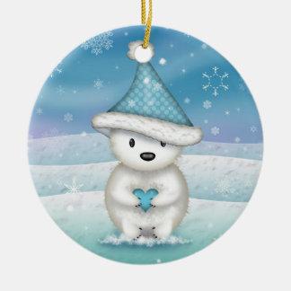Cute Little Polar Bear Christmas Ornament
