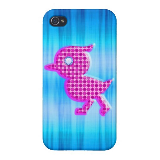 Cute Little polka dot blue and pink birdy Cases For iPhone 4