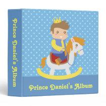 Cute Little Prince, Blue Polka Dots, Photo Album Binder