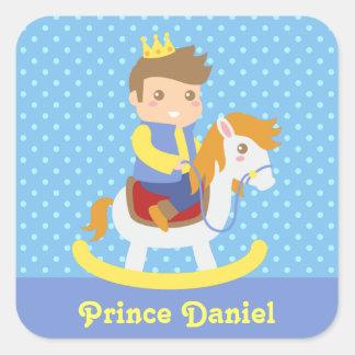Cute Little Prince, Blue Polka Dots Square Sticker