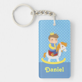 Cute Little Prince on Rocking Horse, for Boys Keychain