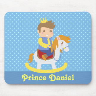 Cute Little Prince on Rocking Horse, of boys Mouse Pad