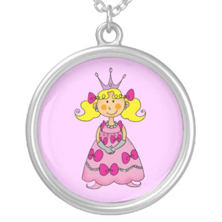 Cute little princess (blond hair) round pendant necklace