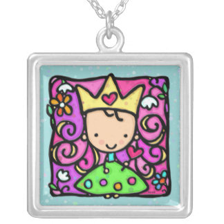 Cute Little Princess in green gown polka dots Silver Plated Necklace