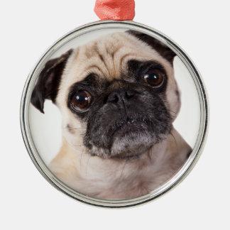 cute little pug dog metal ornament