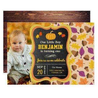 Cute Little Pumpkin 1st Birthday Photo Invitation