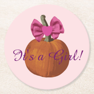 Cute Little Pumpkin Baby Girl Gender Reveal Round Paper Coaster