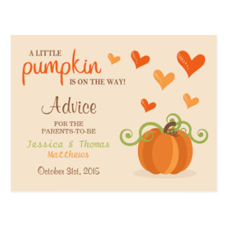 Cute Little Pumpkin Baby Shower Advice Cards