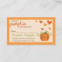 Cute Little Pumpkin Baby Shower Diaper Raffle Enclosure Card