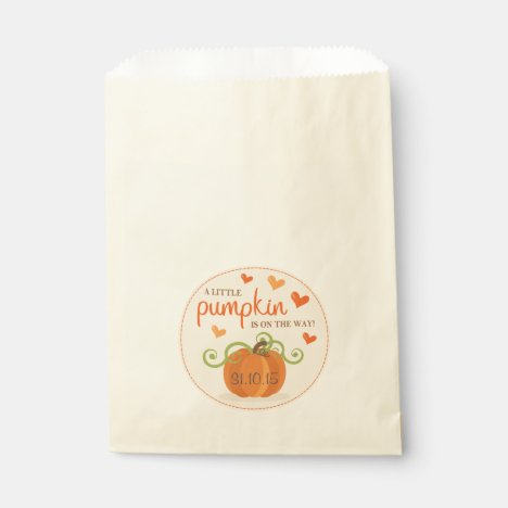 Cute Little Pumpkin Baby Shower Favor Bags