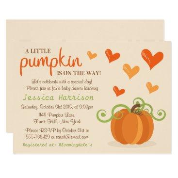 Halloween Themed Cute Little Pumpkin Baby Shower Invitations