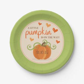 Cute Little Pumpkin Baby Shower Paper Plates