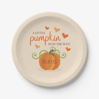 Cute Little Pumpkin Baby Shower Paper Plates