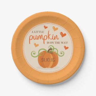 Cute Little Pumpkin Baby Shower Paper Plates 7 Inch Paper Plate