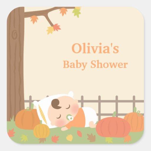 cute little pumpkin baby shower stickers zazzle
