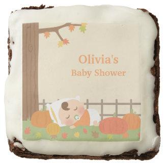 Cute Little Pumpkin Baby Shower Sweet Treats Chocolate Brownie