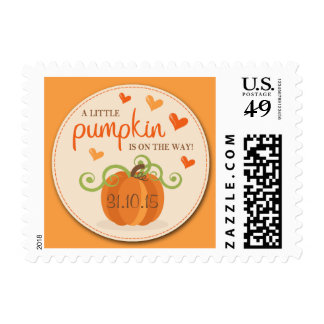 Cute Little Pumpkin Birth Announcement Postage