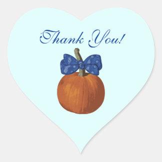 Cute Little Pumpkin Boys Thank You Heart Sticker