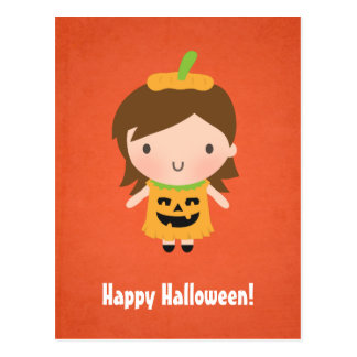 Cute Little Pumpkin Girl Kids Halloween Postcard