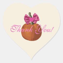 Cute Little Pumpkin Girls Thank You Heart Sticker