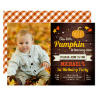 Cute Little Pumpkin Photo 1st Birthday Invitation