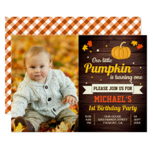 Cute 1st birthday invitations zazzle cute little pumpkin photo 1st birthday invitation filmwisefo