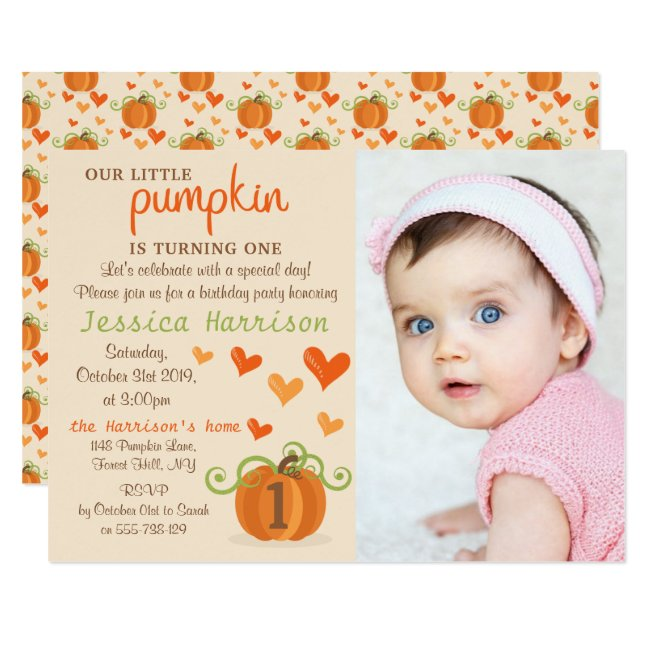 Cute Little Pumpkin Photo 1st Birthday Invitations