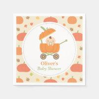 Cute Little Pumpkin Stroller Baby Shower Napkins