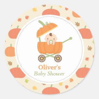 Cute Little Pumpkin Stroller Baby Shower Stickers