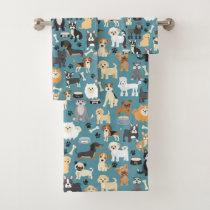 Cute Little Puppy Dog Pet Pattern Bath Towel Set