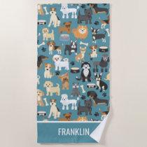 Cute Little Puppy Dog Pet Pattern Personalized Beach Towel
