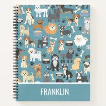 Cute Little Puppy Dog Pet Pattern Personalized Notebook