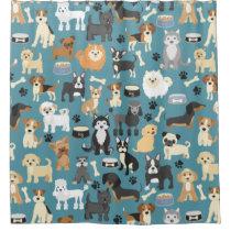 Cute Little Puppy Dog Pet Pattern Shower Curtain