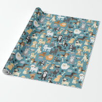 Cute Little Puppy Dog Pet Pattern Wrapping Paper