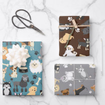 Cute Little Puppy Dog Pet Pattern Wrapping Paper Sheets