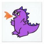 """cute little purple fire dragon monster 5.25"""" square invitation card"""