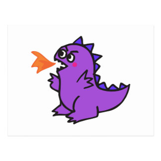 cute little purple fire dragon monster post cards