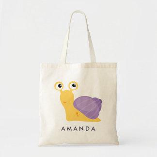 Cute Little purple SNAIL Personalized Tote Bag