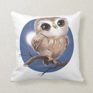 Cute Pillow Illustration : Cute Little Pygmy Owl Illustration ? Pillow