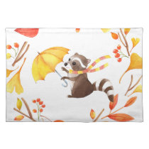 Cute Little Raccoon With Umbrella in Leafy Wreath Placemat