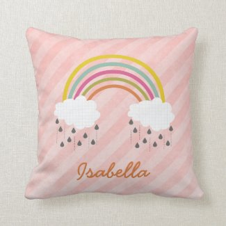 Cute Little Rainbow Personalized Name Pillow