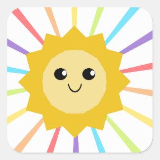 Cute Little Rainbow Sunshine Square Sticker