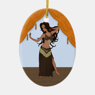 Cute Little Raqs Sharqi Bellydancer Double-Sided Oval Ceramic Christmas Ornament