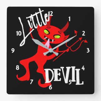 Cute Little Red Devil Funny Graphic Square Wall Clock