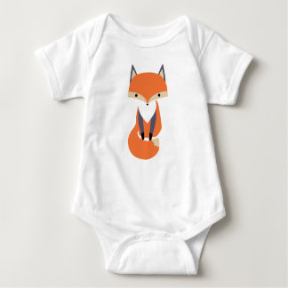 Cute Little Red Fox Illustration Baby Bodysuit