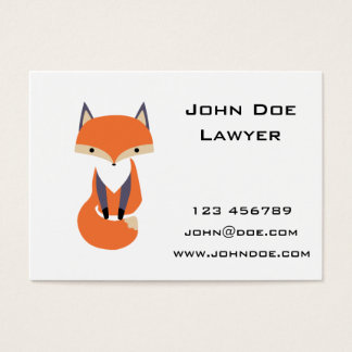 Cute Little Red Fox Illustration Business Card