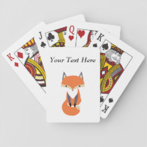 Cute Little Red Fox Illustration Playing Cards