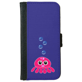 Cute Little Red Jellyfish with Blue Water Bubbles iPhone 6/6s Wallet Case