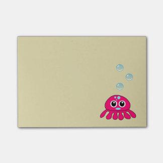 Cute Little Red Jellyfish with Blue Water Bubbles Post-it® Notes